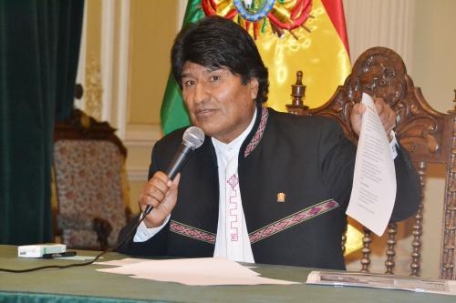 Presidente Evo Morales en conferencia de prensa sobre Misiles en Palacio de Gobierno . ( Jose Lizaure/ABI )