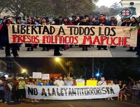Movilizaciones por la libertad de los mapuches presos.