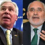 El encargado de negocios de Estados Unidos, Peter Brennan y el expresidente Carlos Mesa. (Foto: ABI)