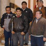 Guido Mitma y otros dirigentes de la COB, luego de haberse reunido con Evo Morales en Marzo de 2017. Foto: R Zaconeta/ABI