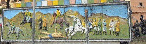 Detalle del monumento a Tupac Katari en Peñas.